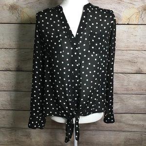 Candie's black polka dot tie waist top